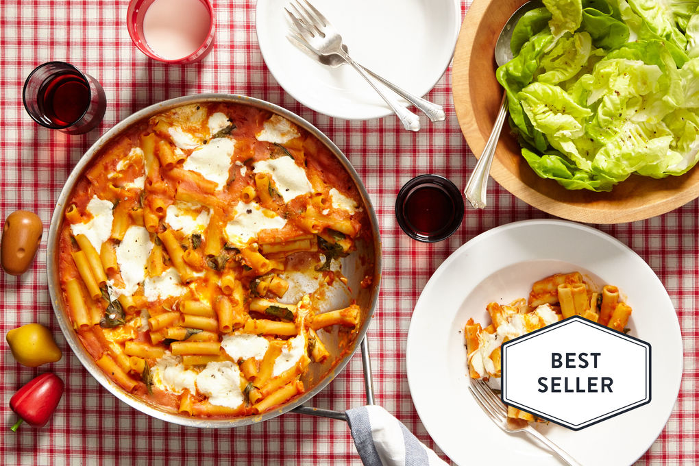 Baked Pumpkin Pasta with Lettuce Salad