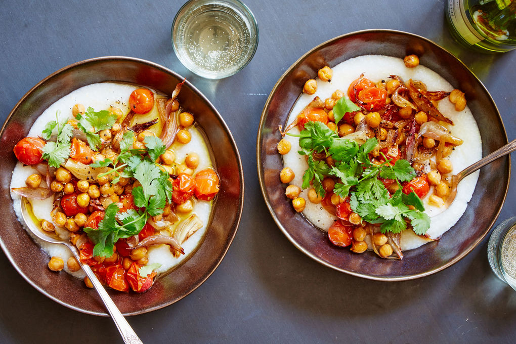 Crispy Chickpeas & Tomatoes with Garlicky Grits