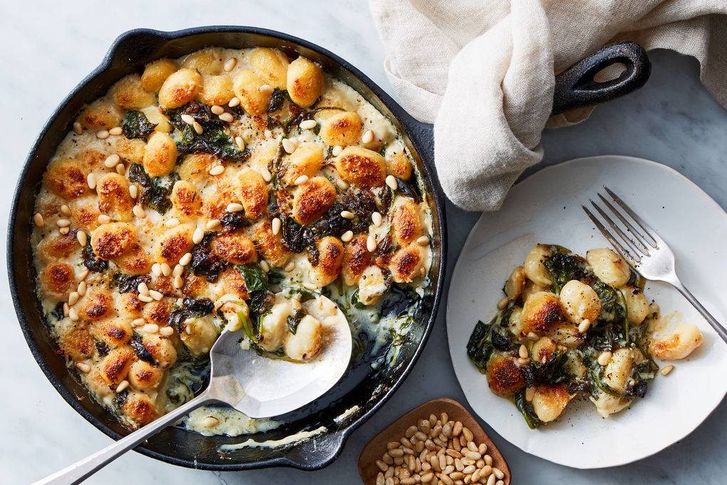 Lemony Spinach Gnocchi Bake with Basil & Pine Nuts
