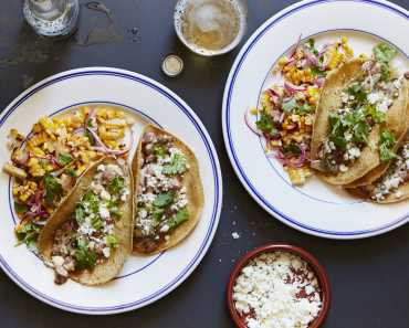 creamy bean and poblano tacos with a charred corn salad