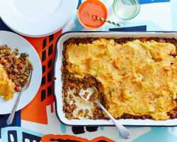 beef cottage pie with carrot-potato mash