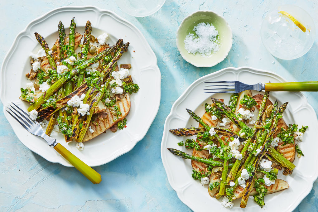 Grilled Asparagus & Potatoes with Herb-Scallion Sauce & Goat Cheese