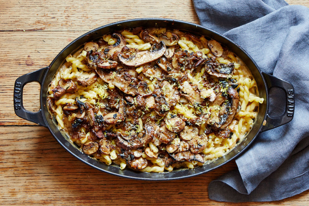 Baked Mushroom Pasta with Parmesan and Thyme