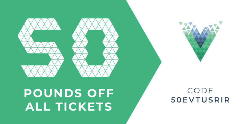 Promo code: 50 GBP off all tickets – Vue.js London 2018