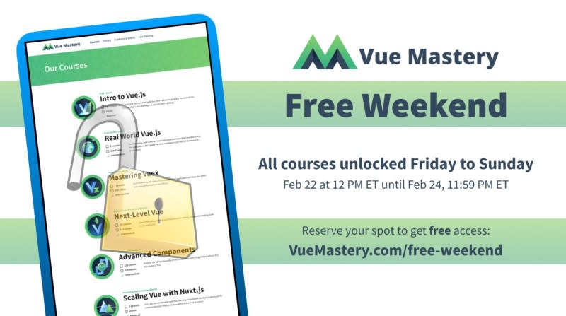 Announcing Vue Mastery Free Weekend