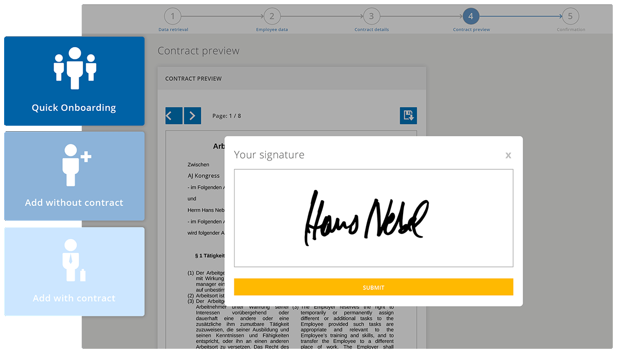 You can either use pre-made contracts or uploads your personal ones. They can be signed digitally. or a signature can be uploaded.