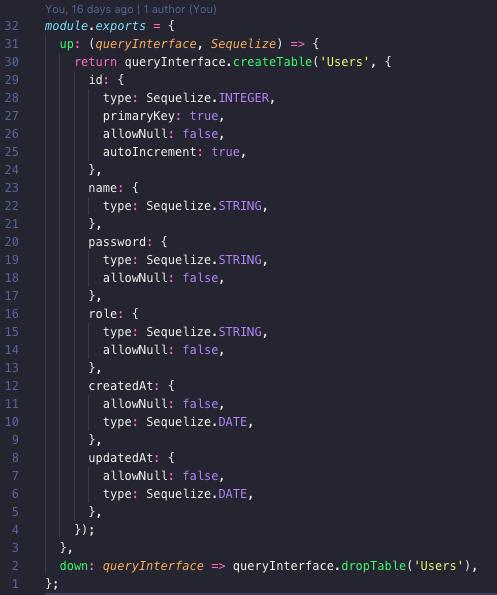 migration file for creating User model