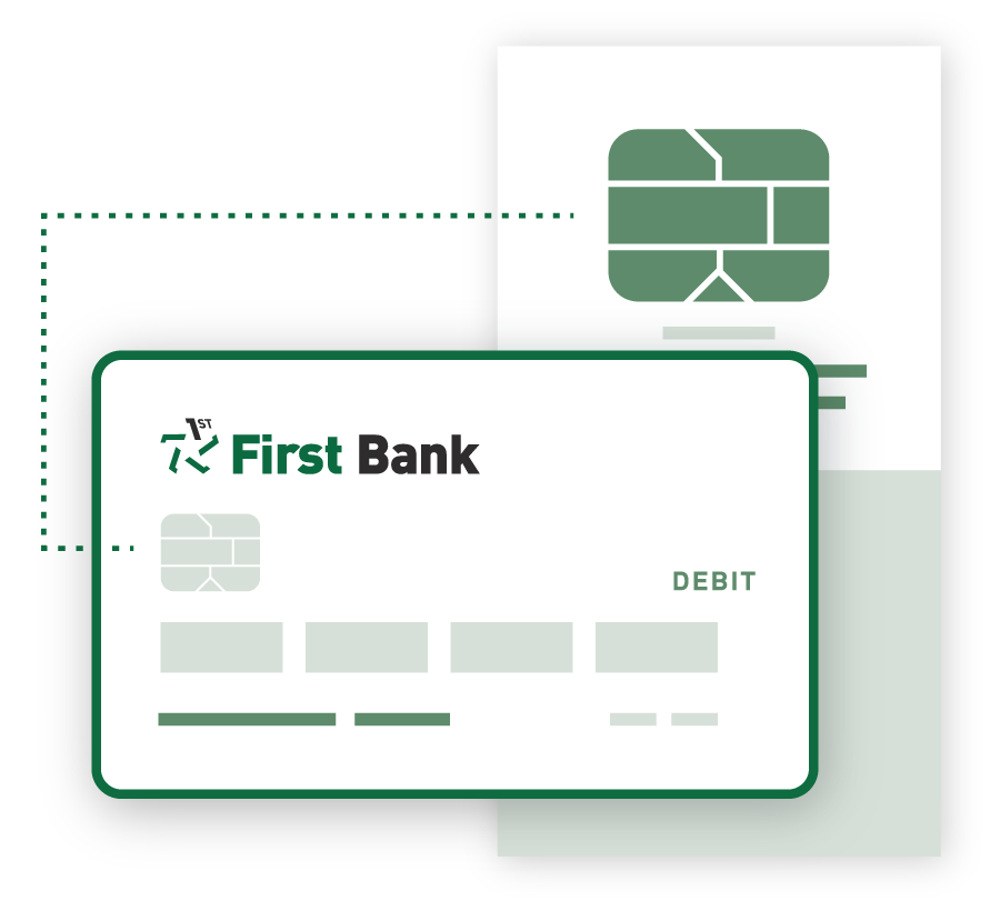 A graphic illustrating the secure chip on our debit cards