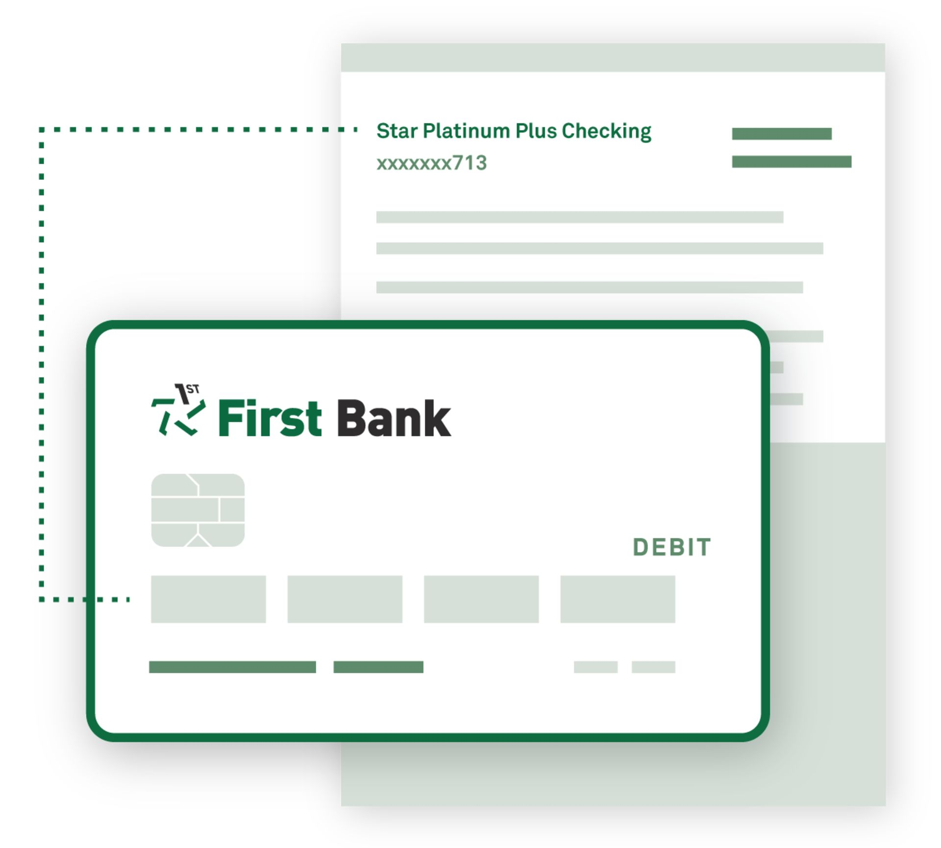 An illustration showing a debit card and account register.