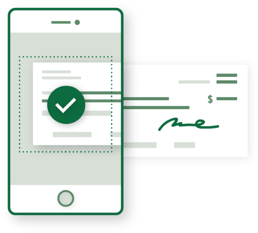 A graphic showing the ability to deposit checks in the First Bank mobile app