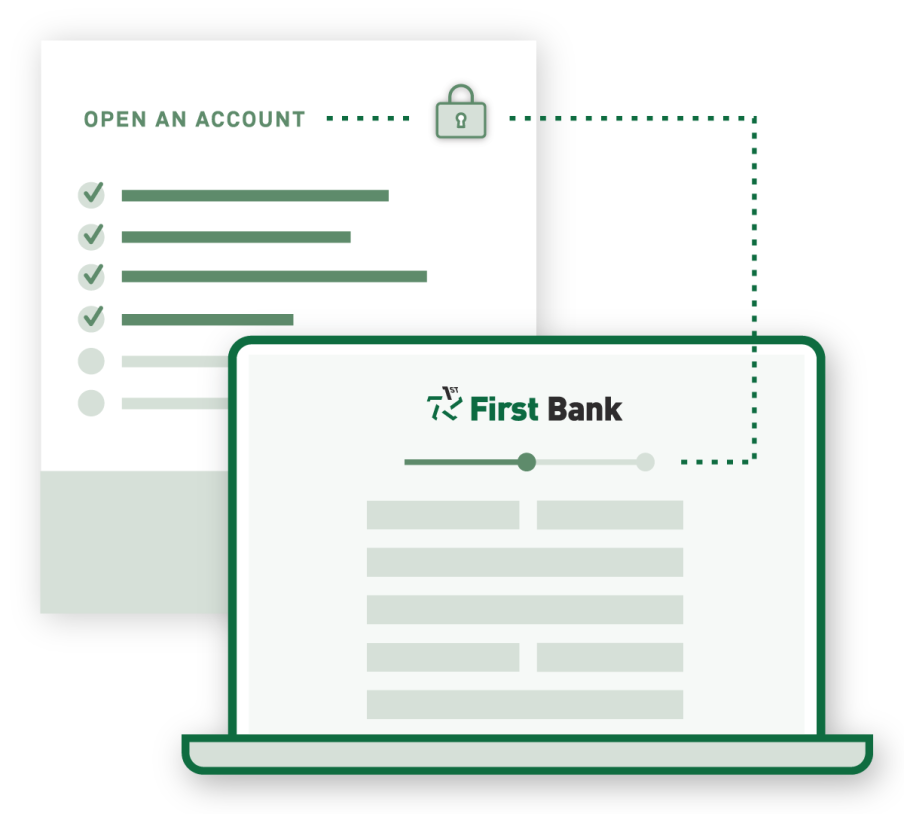 A graphic that shows a laptop and an online banking register.