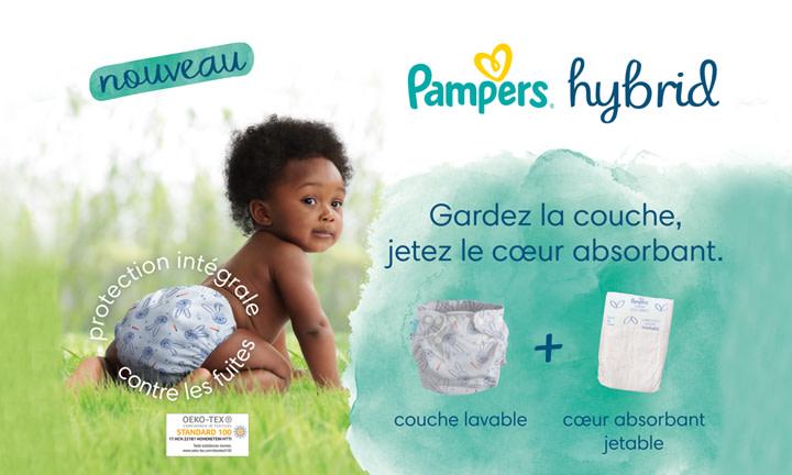Pampers® Harmonie Hybrid, gardez la couche jetez le cœur absorbant.