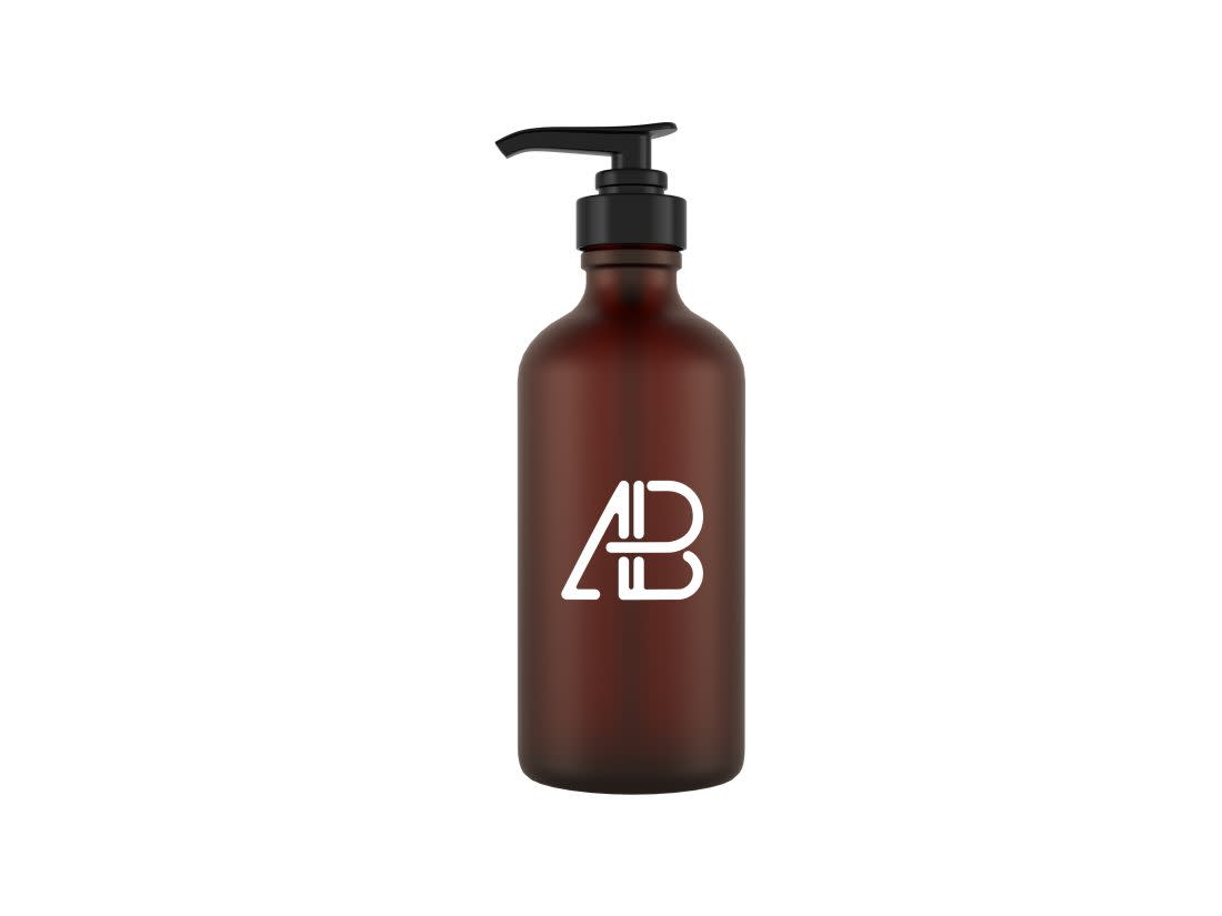 Glass Cosmetic Pump Bottle Mockup by Anthony Boyd Graphics