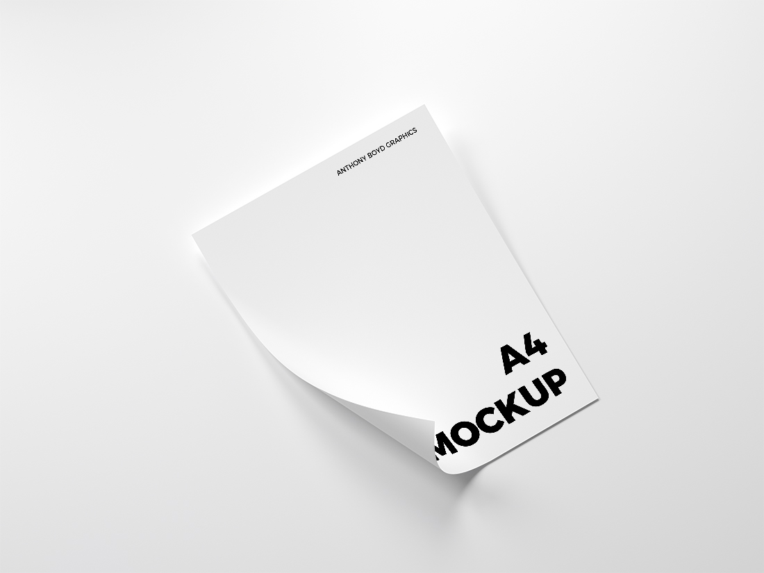 Folded A4 Paper Mockup by Anthony Boyd Graphics