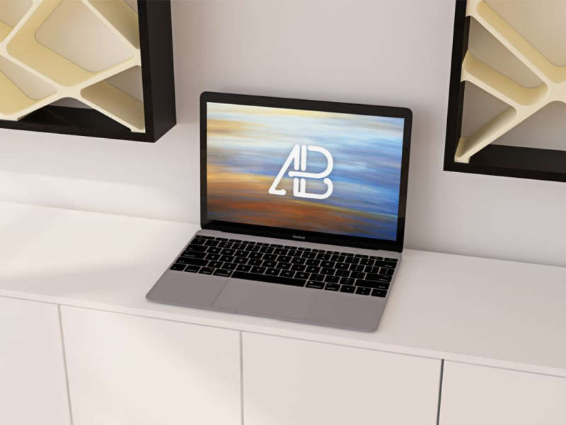 Realistic 12-Inch Macbook Mockup by Anthony Boyd Graphics