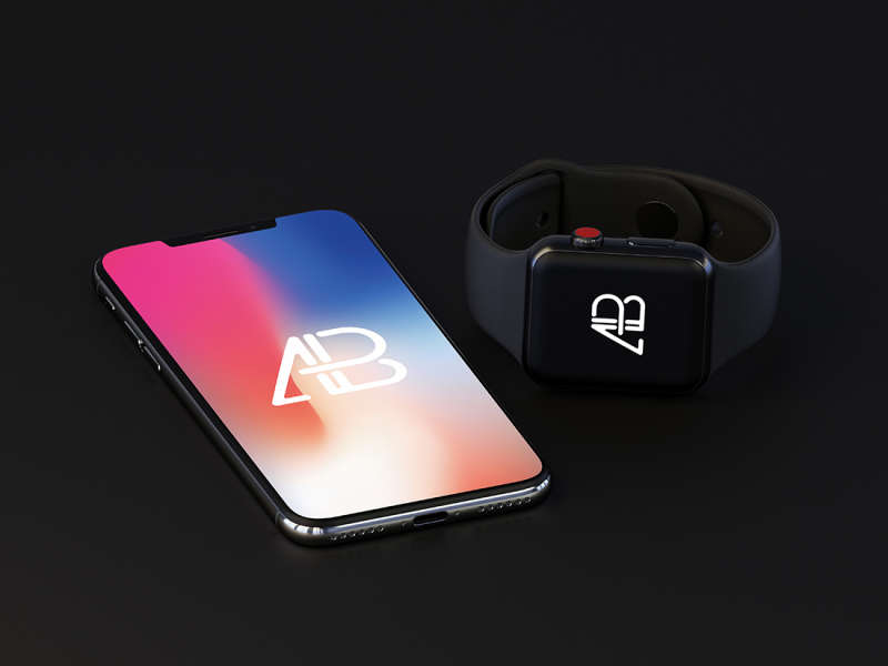 iPhone X and Apple Watch Series 3 Mockup by Anthony Boyd Graphics