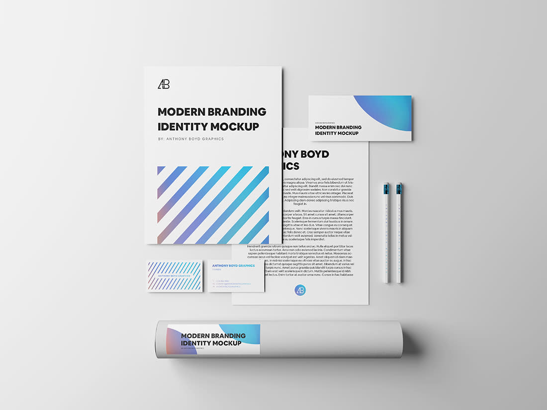 Modern Branding Identity Mockup Vol.4 by Anthony Boyd Graphics