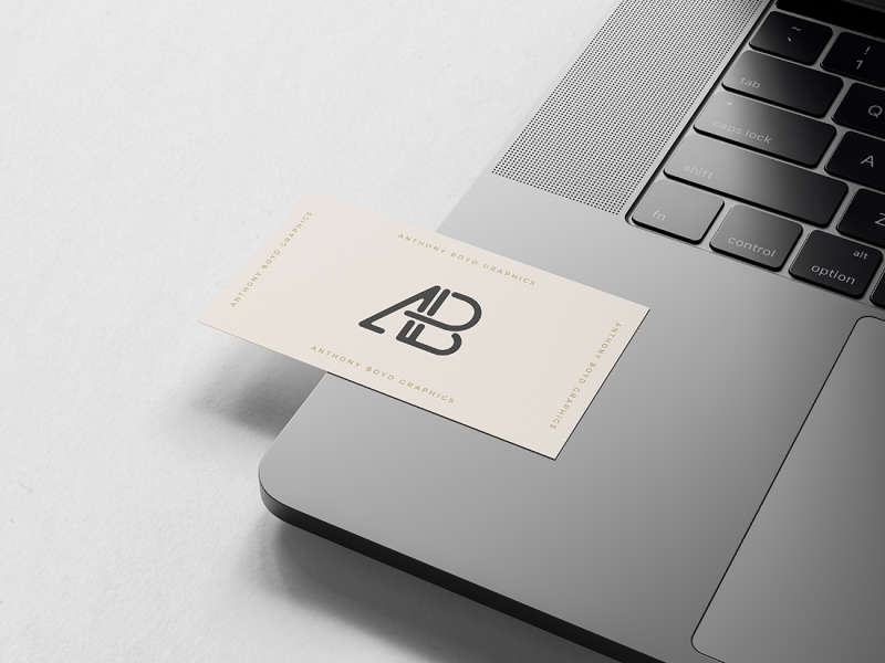 Business Card on Macbook Pro Mockup by Anthony Boyd Graphics