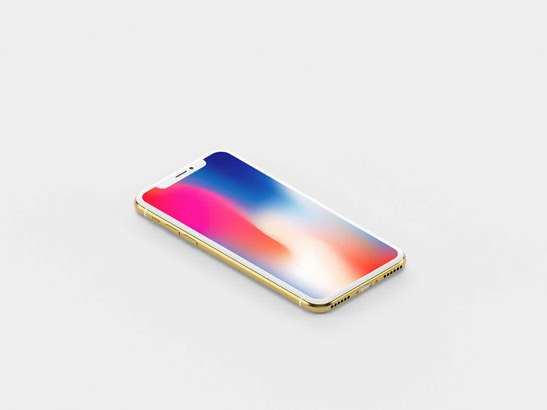 Gold Isometric iPhone X Mockup by Anthony Boyd Graphics