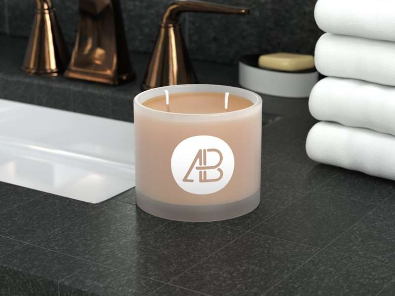 Frosted Glass Candle Mockup by Anthony Boyd Graphics