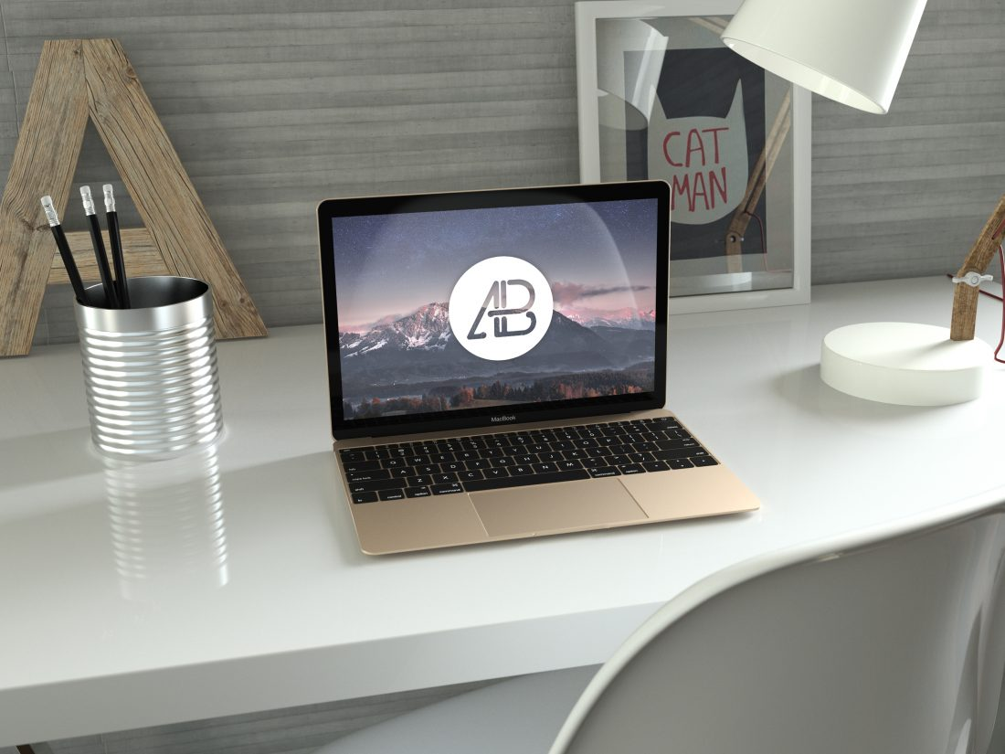 Realistic Gold 12-Inch Macbook Mockup by Anthony Boyd Graphics