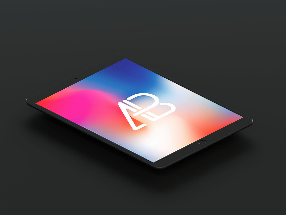 Isometric Matte Black iPad Pro 10.5 Mockup by Anthony Boyd Graphics
