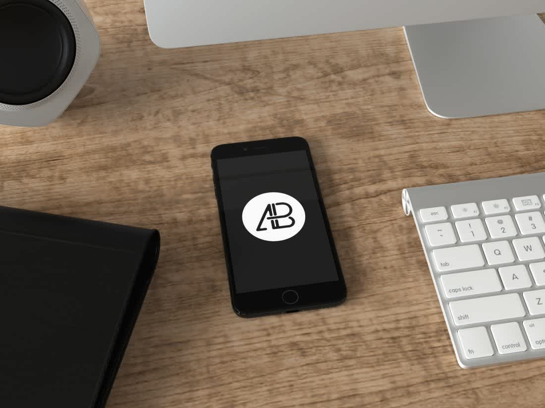 Realistic Jet Black iPhone 7 Plus Mockup Vol.4 by Anthony Boyd Graphics
