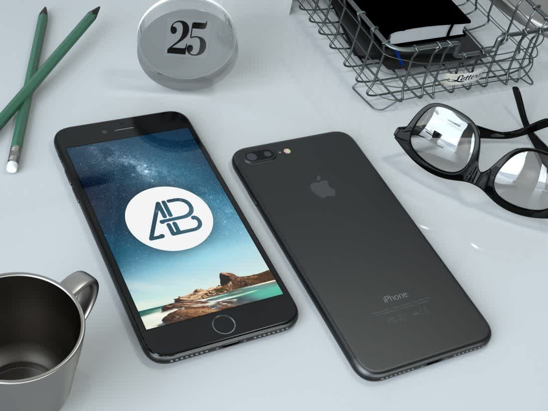 Realistic Black iPhone 7 Plus Mockup by Anthony Boyd Graphics