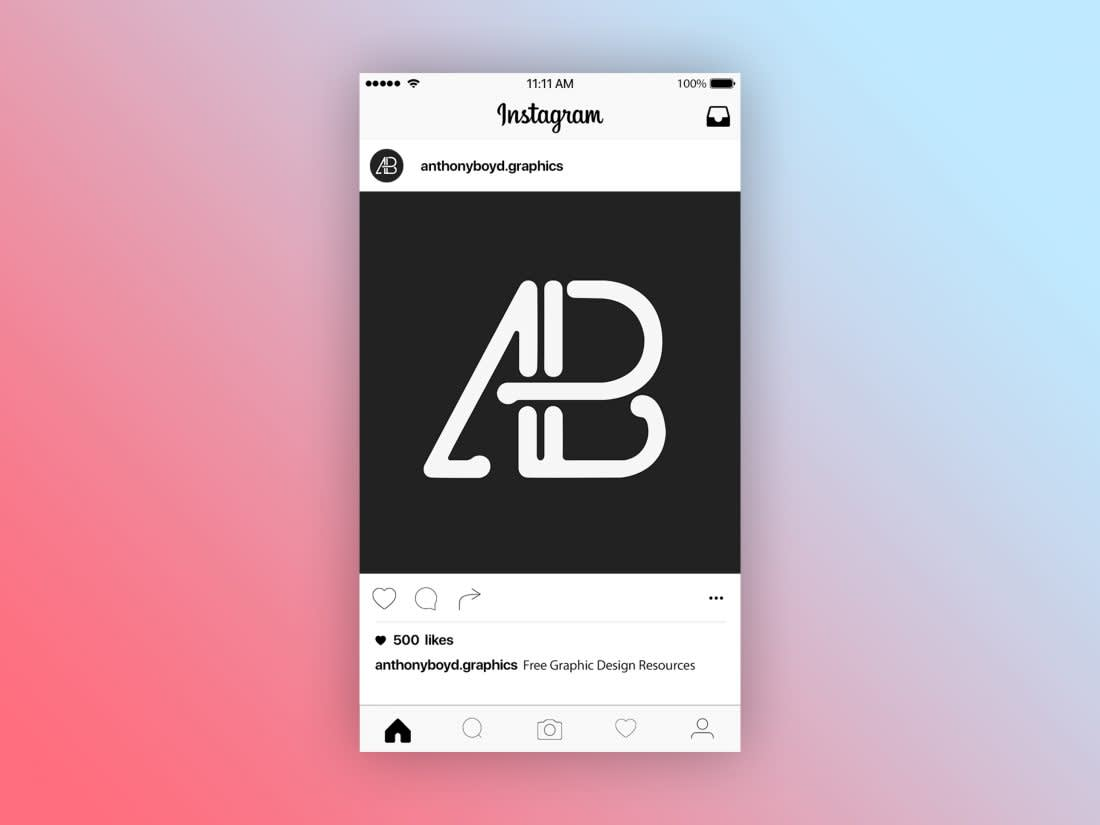 Instagram Post Page Mockup by Anthony Boyd Graphics