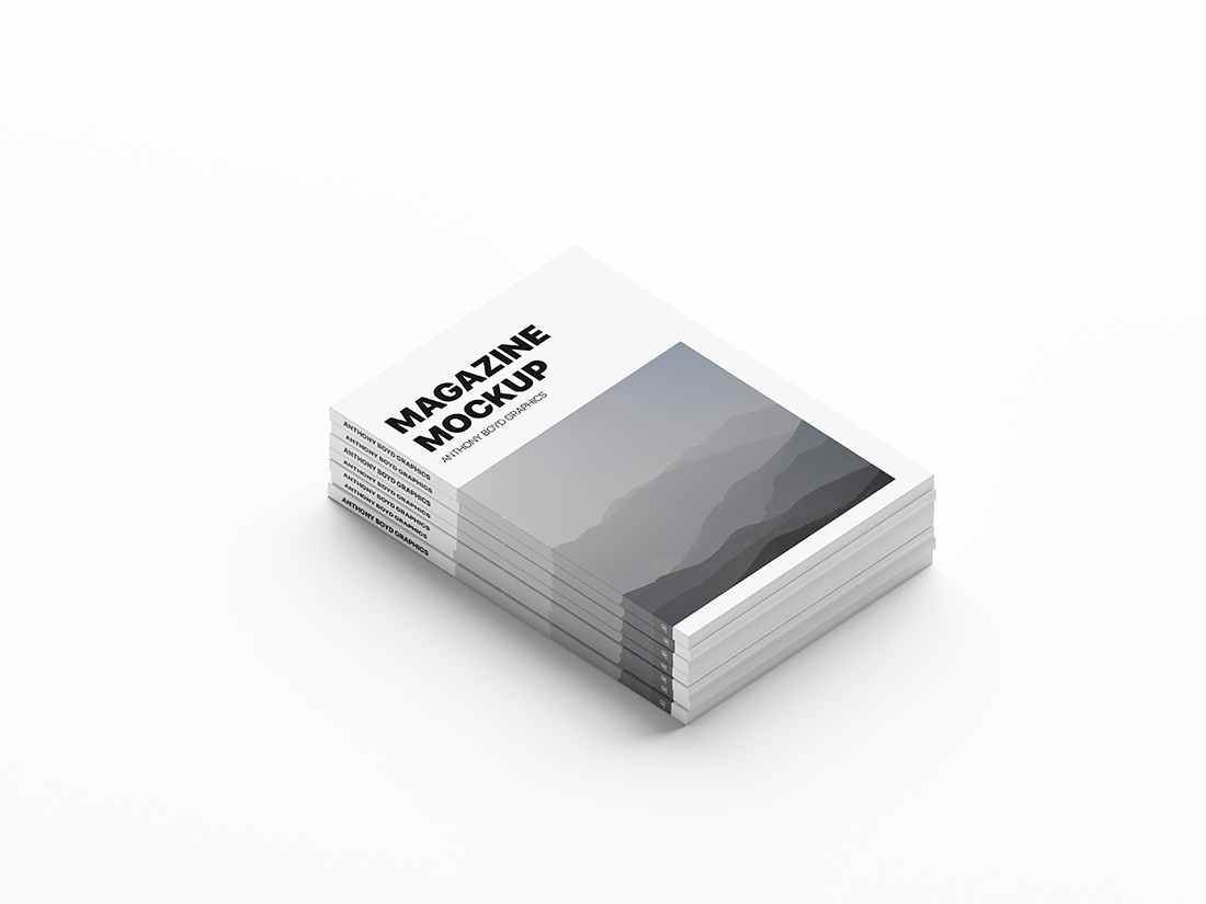 Stacked Magazines Mockup by Anthony Boyd Graphics