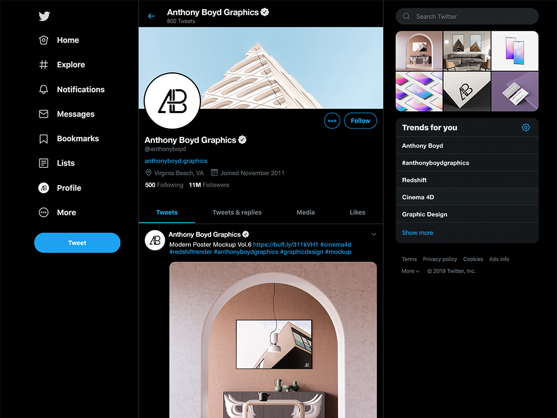 2019 Dark Twitter Mockup by Anthony Boyd Graphics