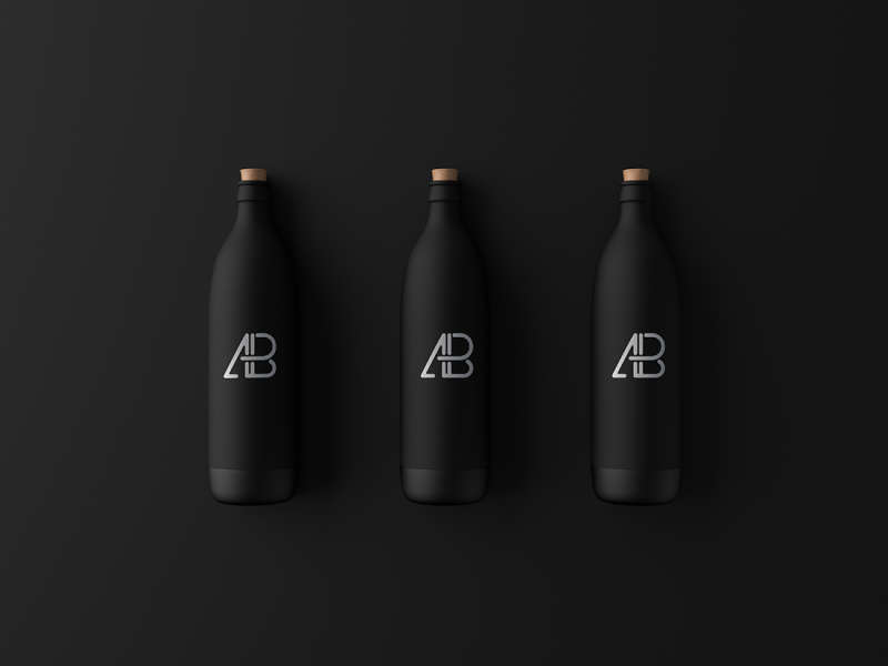 Matte Black Bottle Mockup by Anthony Boyd Graphics