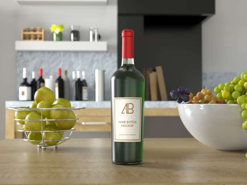 Wine Bottle PSD Mockup by Anthony Boyd Graphics
