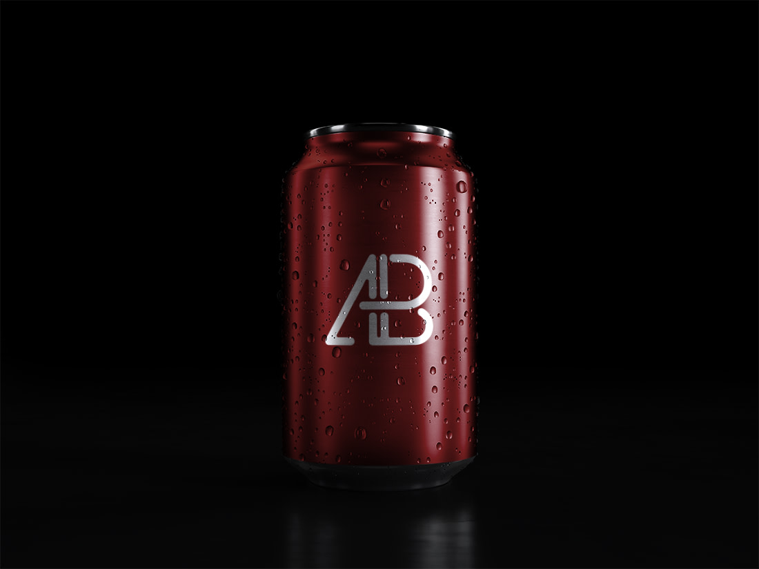 Soda Can With Water Drops Mockup by Anthony Boyd Graphics
