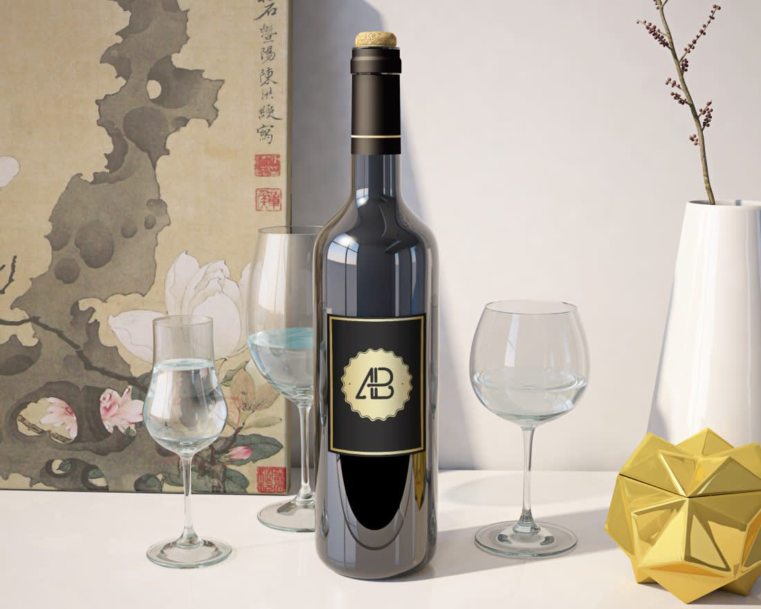 Realistic Wine Bottle Mockup by Anthony Boyd Graphics