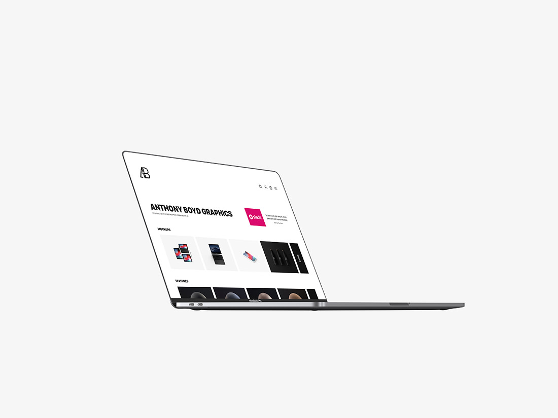 Side View Bezel-Less Macbook Pro with Touch Bar Mockup by Anthony Boyd Graphics