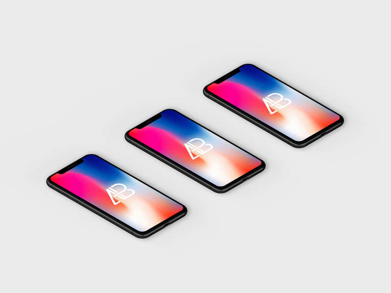 Isometric iPhone X Mockup Vol.4 by Anthony Boyd Graphics