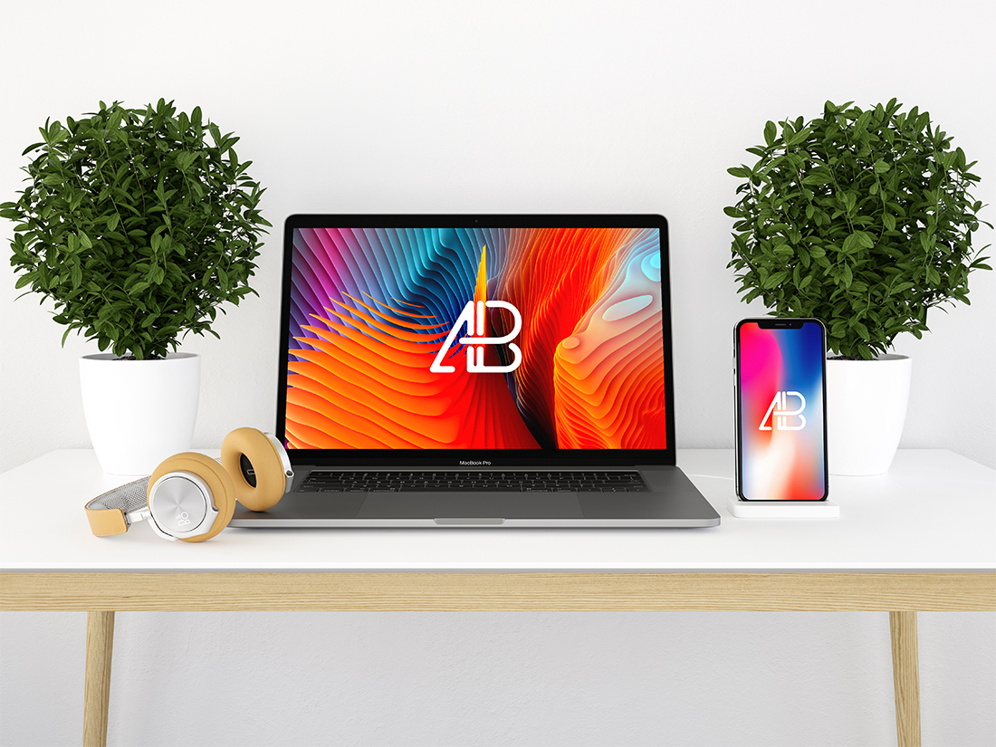 Modern iPhone X and Macbook Pro Mockup Vol.2 by Anthony Boyd Graphics