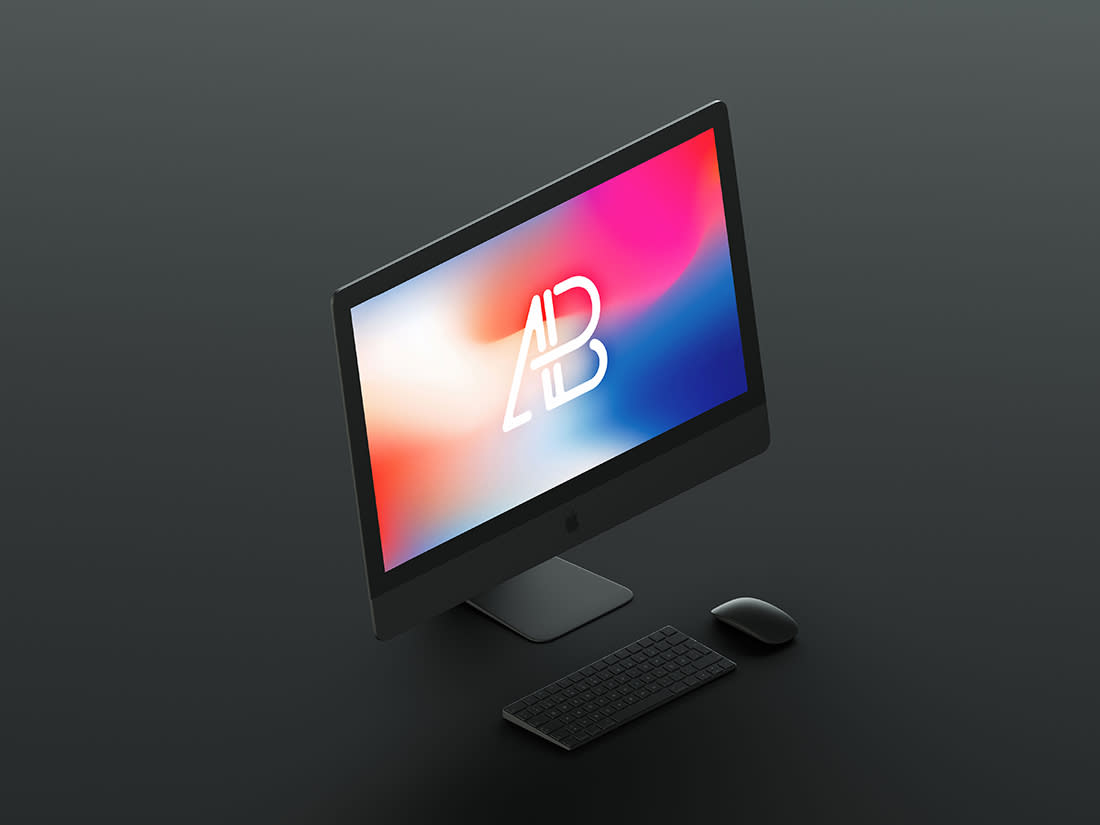 Isometric Matte Black iMac Pro Mockup by Anthony Boyd Graphics