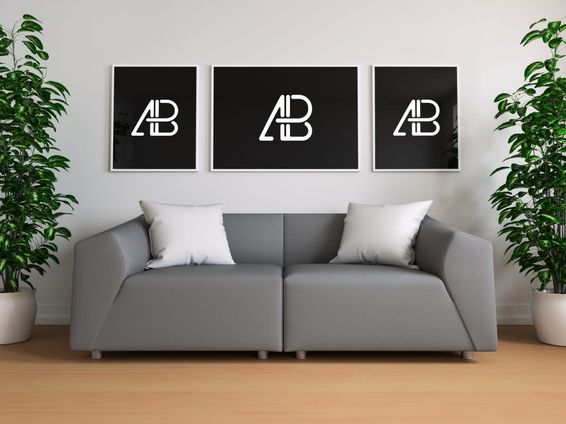 Triple Poster In Living Room Mockup by Anthony Boyd Graphics