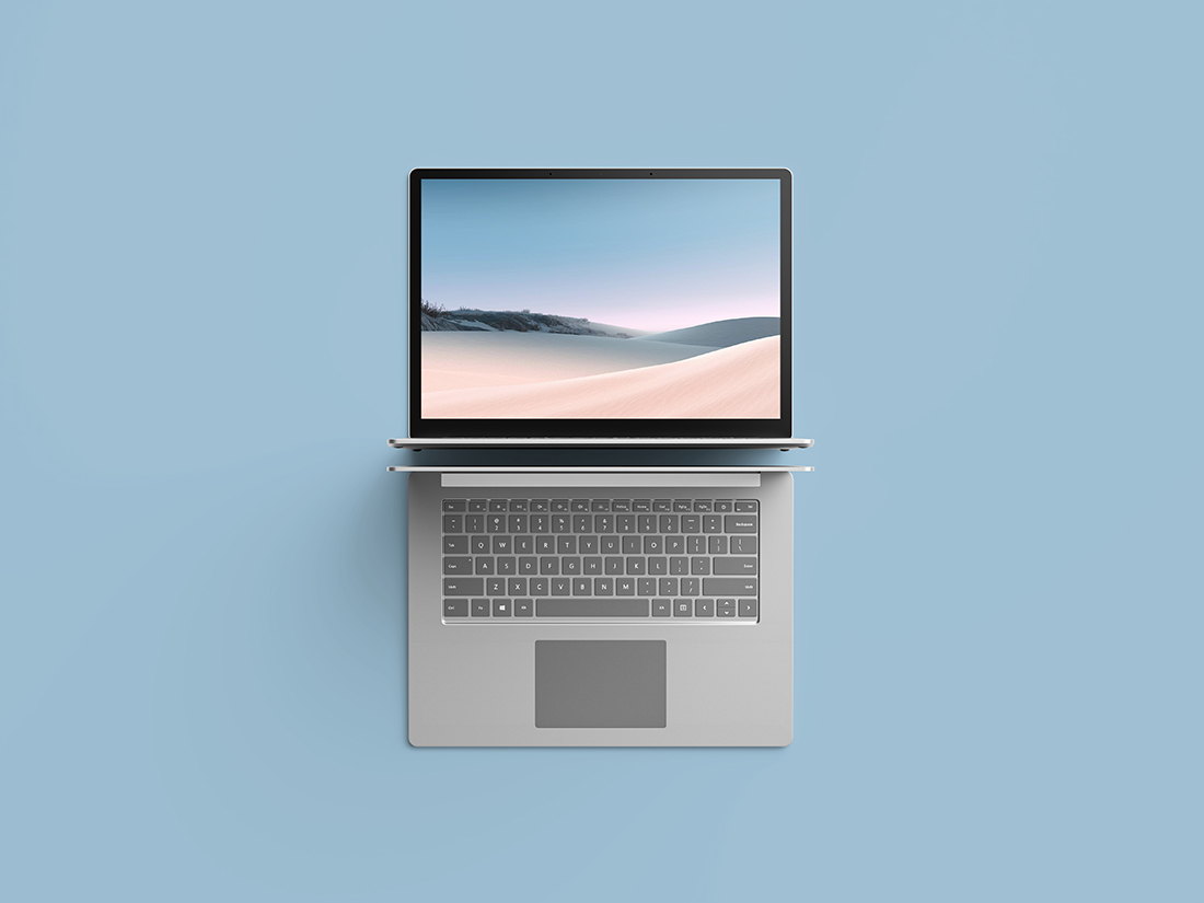 Top View Surface Laptop 3 Mockup by Anthony Boyd Graphics