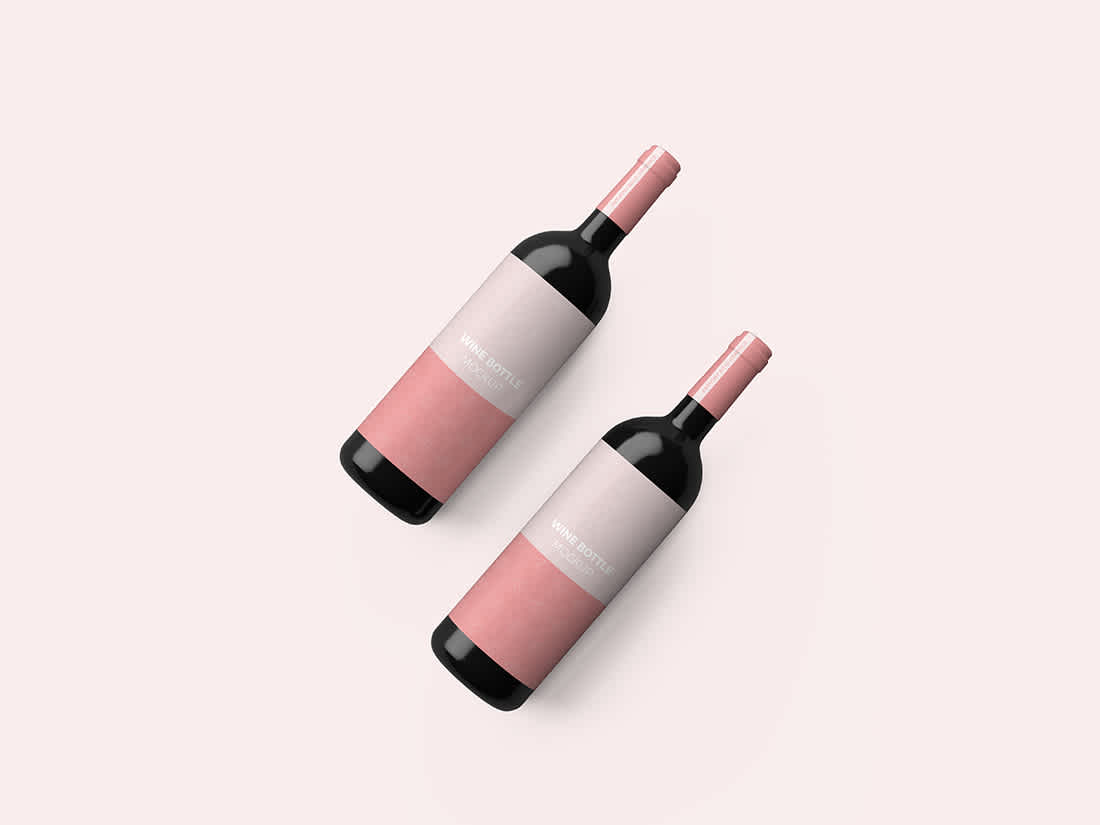 Wine Bottle Top View Mockup by Anthony Boyd Graphics