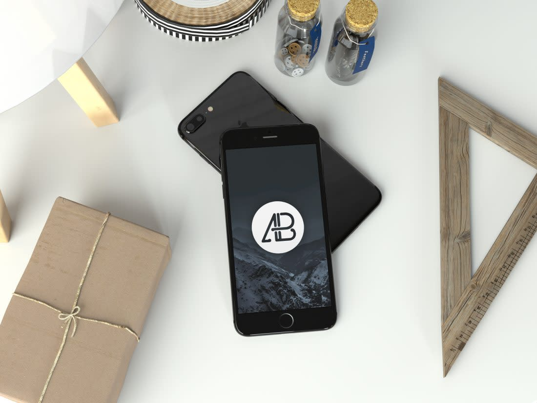 Realistic Jet Black iPhone 7 Plus Mockup by Anthony Boyd Graphics