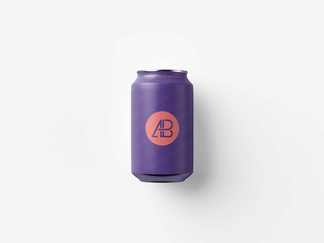 330mL Can Top View Mockup by Anthony Boyd Graphics