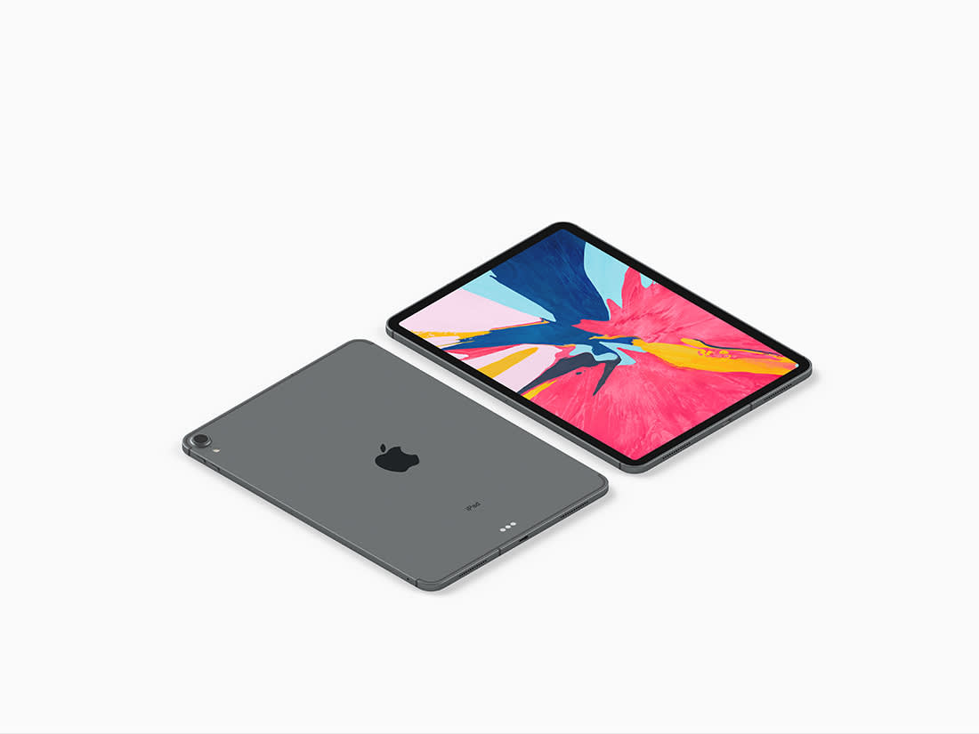 Isometric iPad Pro 2018 Mockup by Anthony Boyd Graphics
