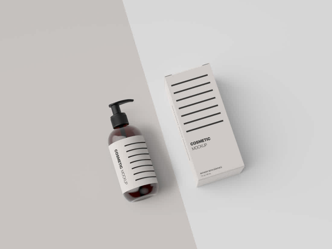 Cosmetic Bottle Packaging Showcase Mockup by Anthony Boyd Graphics