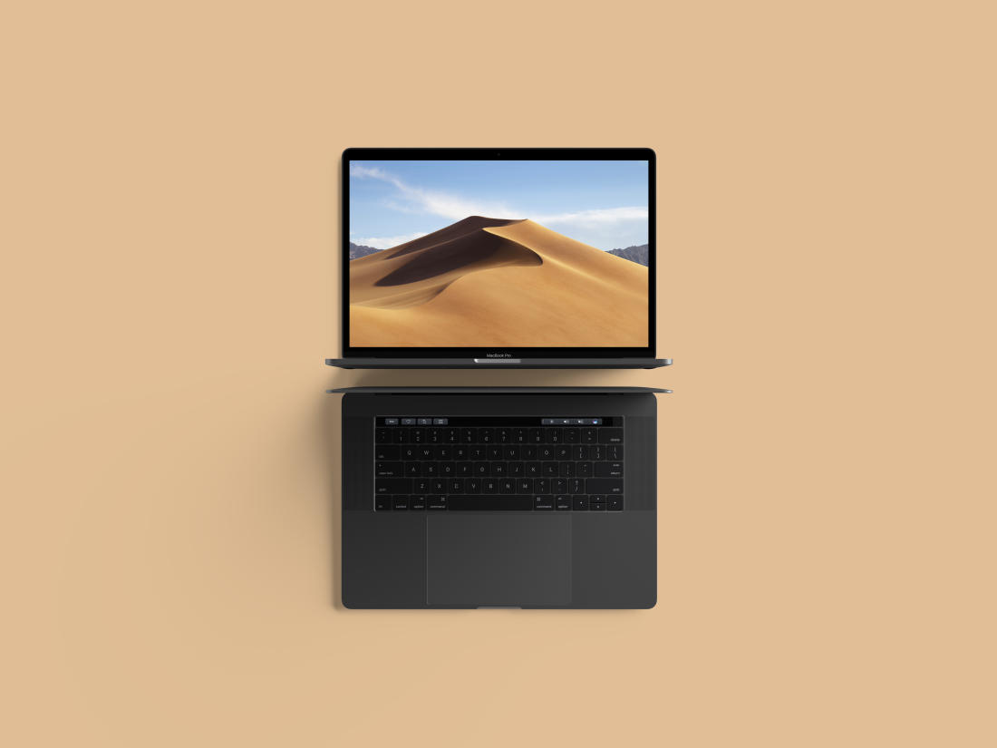 Modern Top View MacBook Pro Mockup by Anthony Boyd Graphics