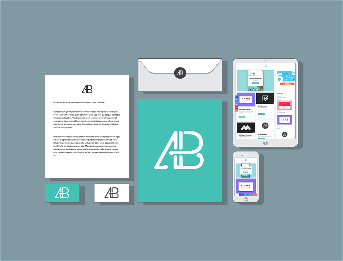 Flat 2D Branding and Identity Mockup by Anthony Boyd Graphics