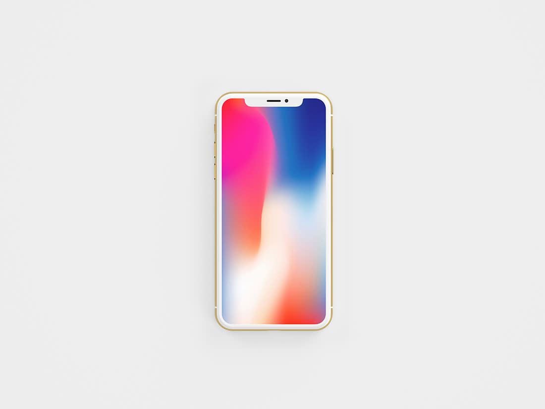 Gold Front View iPhone X Mockup by Anthony Boyd Graphics