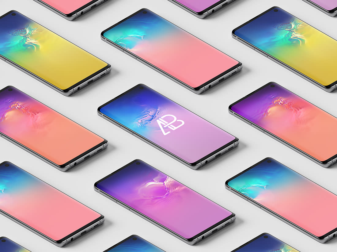Samsung Galaxy S10 Isometric Mockup by Anthony Boyd Graphics